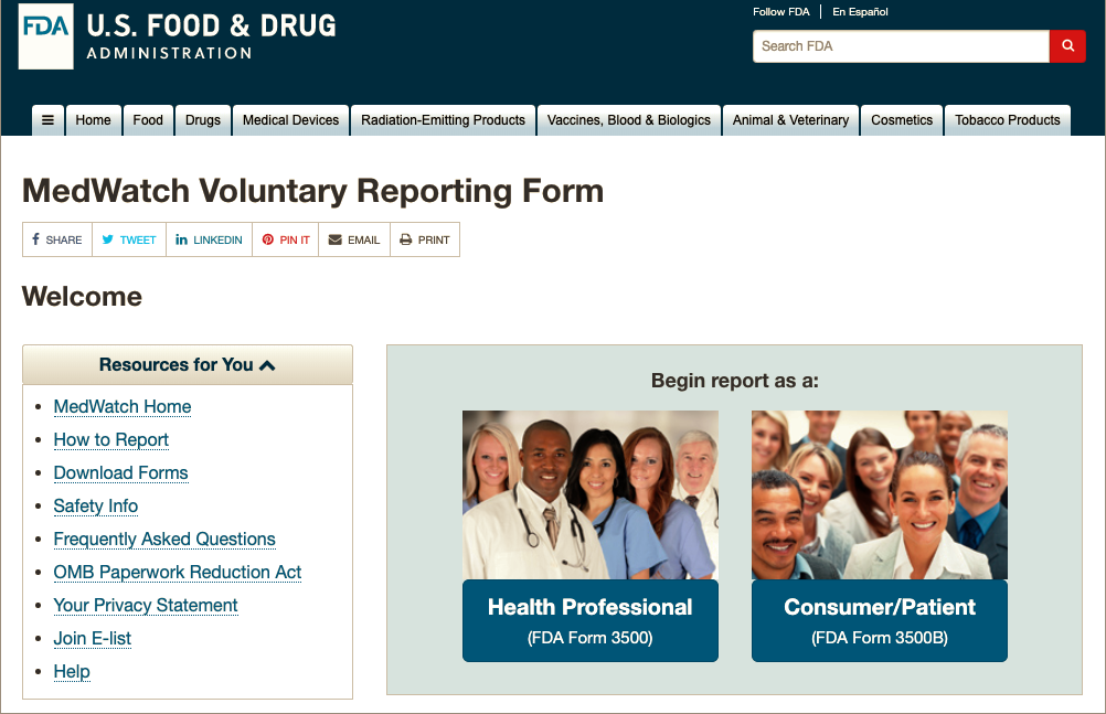 FDA Medwatch Voluntary Reporting Form